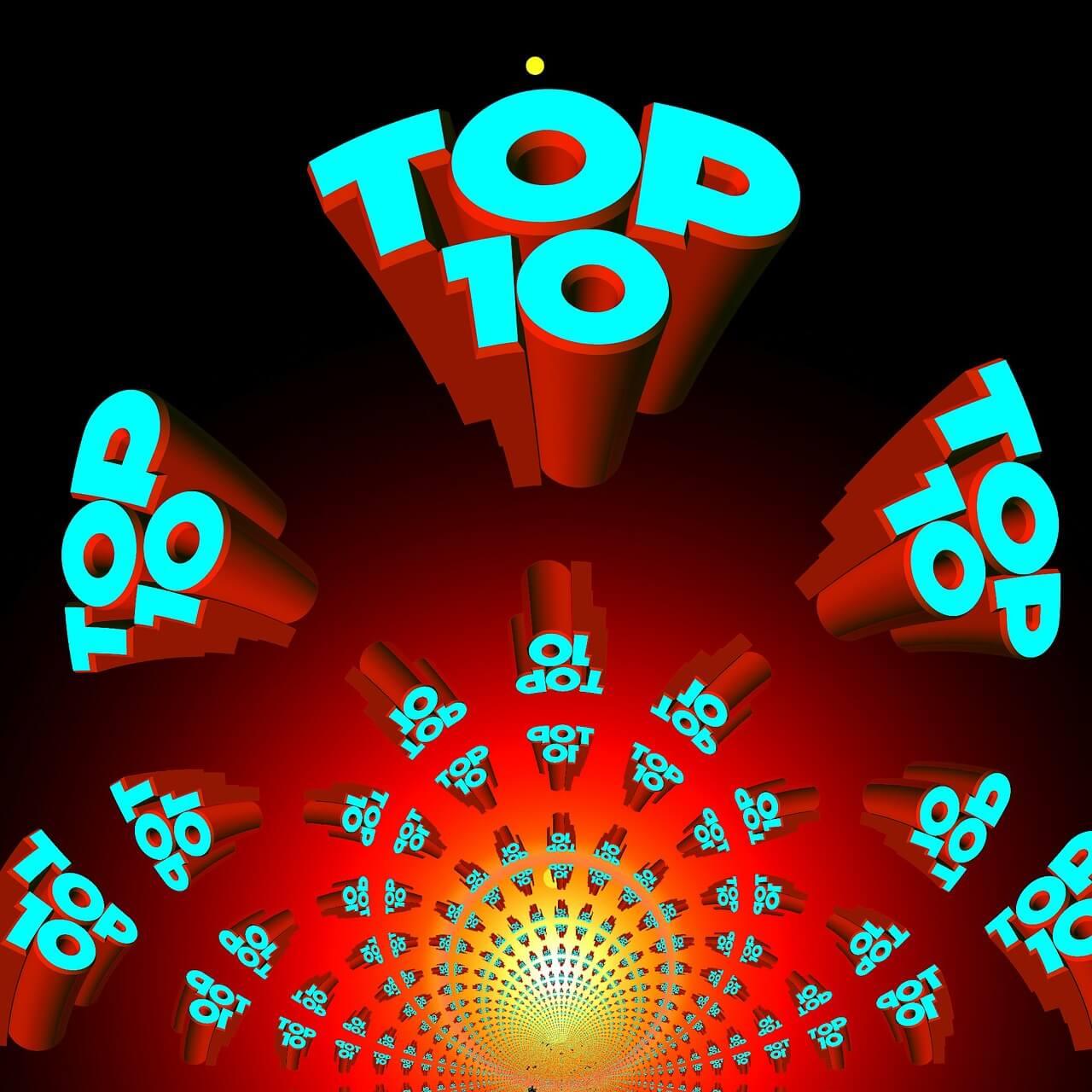 rot gelbes zentrum, in das Top 10 in türkis zeigen