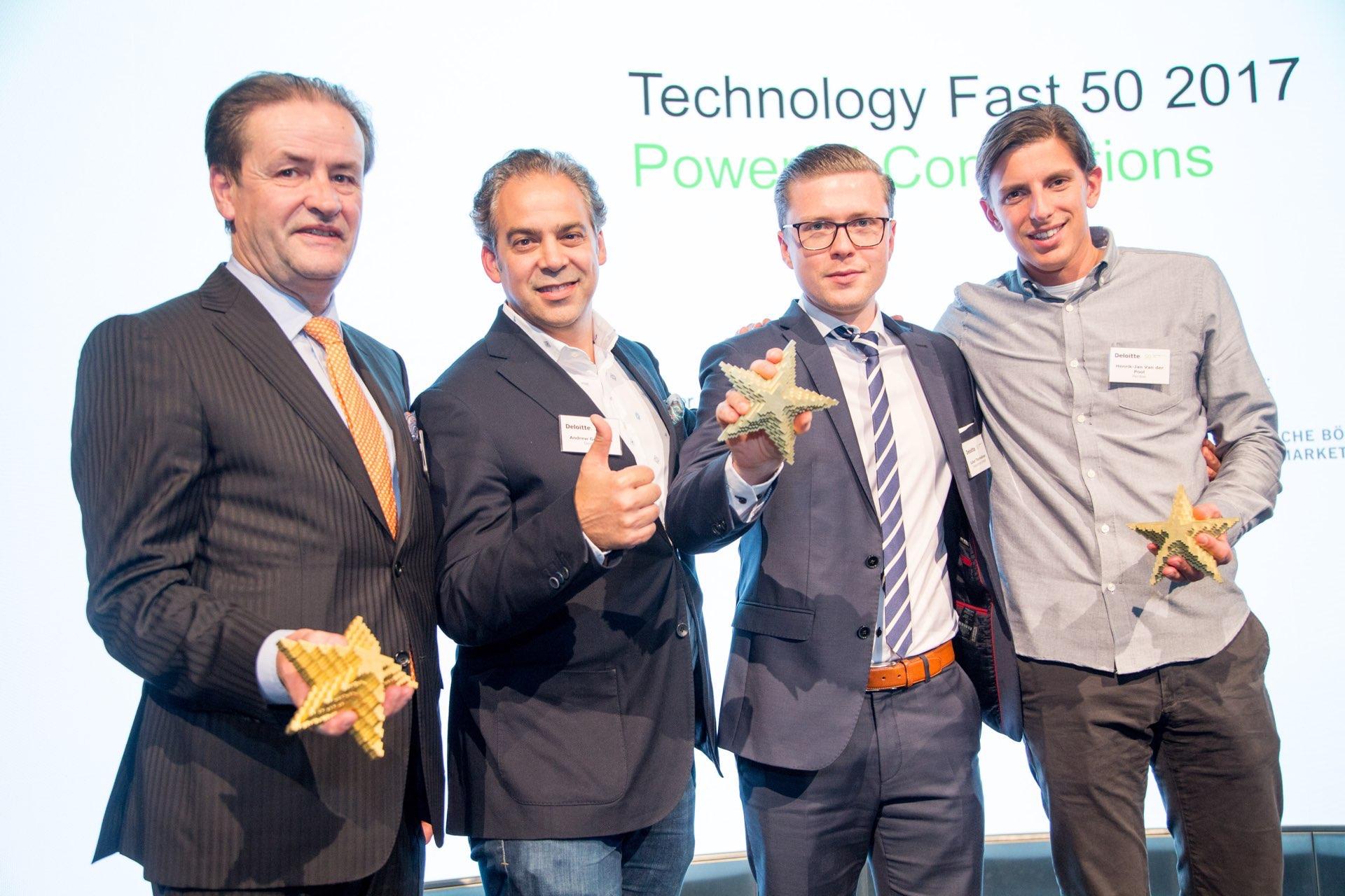 Die Preisträger des Rising Star Awards 2017 - v.l.n.r.: Ralf Rieken (Uniscon), Andrew Goldstein (Deloitte), Julian Thormählen (Tradeconthor), Henrik-Jan van der Pol (Perdoo)