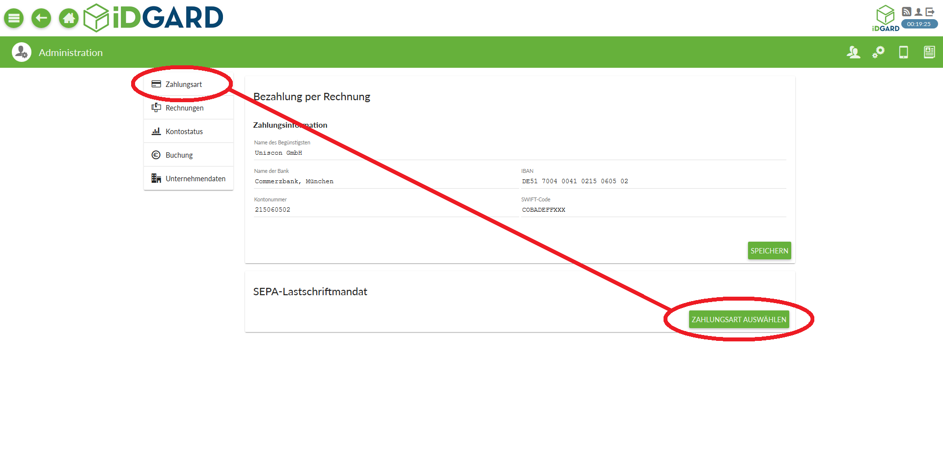 Admin-Tools: Zahlungsart